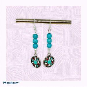 Teal Beaded Earrings, Mandala Charm Dangles